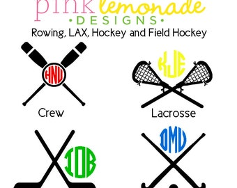 Crew Rowing Monogram decal, Lacrosse LAX Monogram Vinyl Decal, Hockey Monogram Decal, Field Hockey monogram, YETI decal