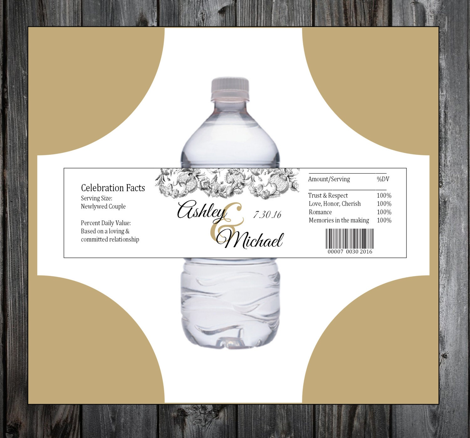 Lace and Burlap Rustic Theme 100 water bottle labels - Wedding favors