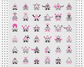 Illuminati Wall Art Print - pyramid people illustration poster in neon pink, black & white triangles. Modern art risograph print.