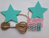 Star Child's Art Display Hanger in turquoise,  Kids Artwork Display, Card Display, Art Display Line, Photo Display