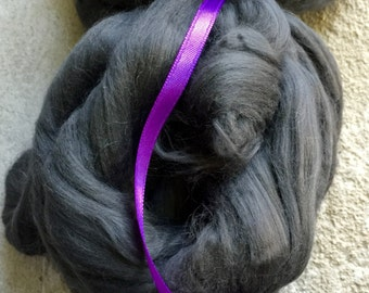 Bamboo Fiber  - 2 1/4 ounces - Combed  Top - Roving - Spinning Fiber - Granite Color - Vegan