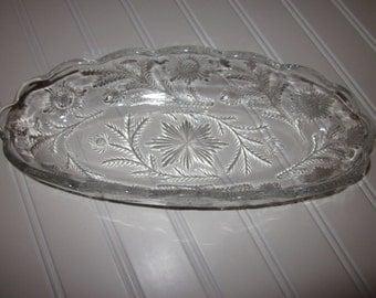 "Antique EAPG Duncan & Miller 1897 ""Sunflower Patch"" oblong bowl,charming glass,tabletop,tableware,Shabby Chic"