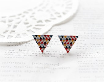 Wooden Triangle Colourful Geometric Triangle Zig Zag Stud Earrings