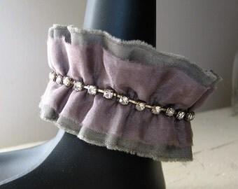 Art Cuff Bracelet Textile Cuff Rhinestone OOAK Wrist Cuff Wearable Art