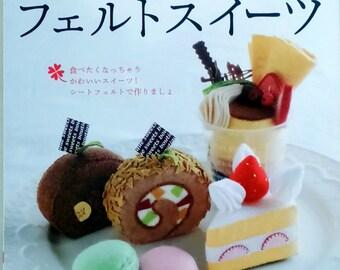 Felt dessert cake sewing Patterns Japanese Craft Book, pretend toy, Sewing Tutorial, biscuit felt, felted, cake, dessert, macaroon