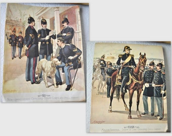 Pair of Military Lithographs Collectible Pictorial Americana 1888 H.A. Ogden Full Color Lithographs Officers War Wall Art