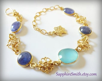 GALAPAGOS Gemstone Bracelet, Lavender Blue Tanzanite, Aqua Blue Chalcedony Bezel-Set Links, Bali Gold Vermeil Flower Links, Sea Turtle Charm