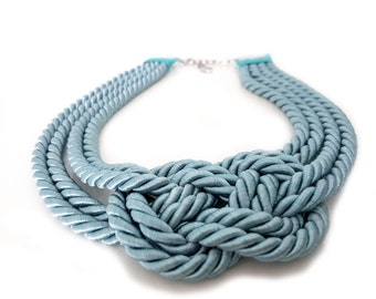 Nautical Rope Statement Necklace,Knotted Bib Necklace, Rope Necklace