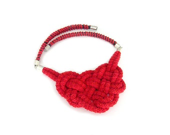 Nautical Bib Necklace, Rope Statement Necklace, Red Knotted Bib Necklace, Crochet Necklace, Knot Neclace