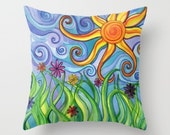 Throw Pillow printed with Sunny Skies Original Artwork