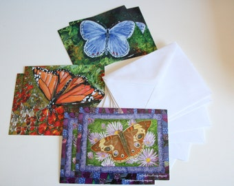 Postcard Set printed with Original Butterfly Art Prints, Set of 6 Cards Watercolor Prints with Envelopes, Stationery Set, Back to School