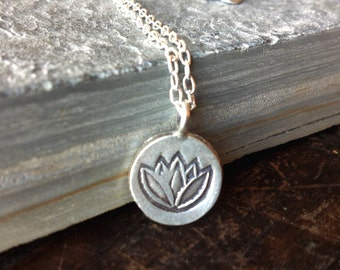lotus necklace, yoga jewelry, gift for friend, flower pendant, sterling silver, ready to ship, boho chic, simple, elegant, modern, everyday