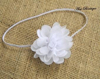 Chiffon Flower Headband - Newborn Headband - White Chiffon Headband - White Flower Headband