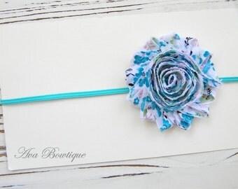 Chiffon Flower Headband - Turquoise Chiffon Headband - Baby Chiffon Headband
