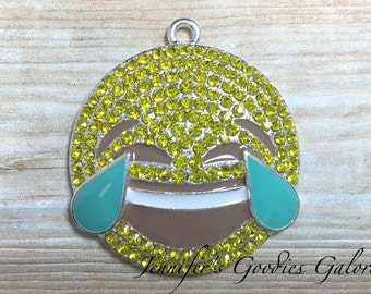 36mm, Emoji Pendant, Smiley Face Emoticon Rhinestone Pendant, Laughing with Tears Emoji, Laughing Emoji,  Emoji Necklace, DIY Necklace