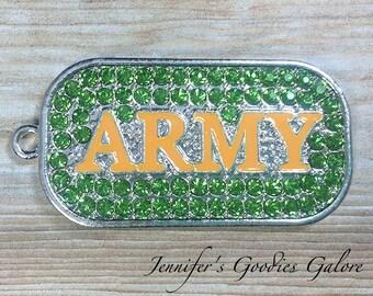 Military Dog Tag, Army Dog Tag, Rhinestone Pendant, Army Pendant, Military Pendant, Chunky Necklace Beads, DIY Necklace, Army Necklace