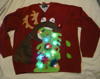 LIGHTS Up!!!  Custom made Naughty men's tacky 3D Ugly Christmas sweater ANY SIZE, Naughty sweater, Funny christmas sweater