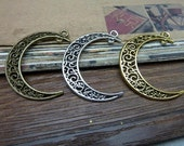 20PCS   38X32mm Hollow Moon Charms,  Filigree Moon Shape Earring Necklace Findings Charm Pendant