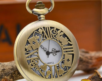 1pcs Antique Bronze Large locks brand rabbit  Pocket Watch Charms Pendant with chain ty146576
