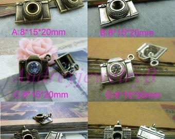 20PCS- Camera Pendant Antique Bronze/ Antique Silver Enamel 3D Camera Pendant