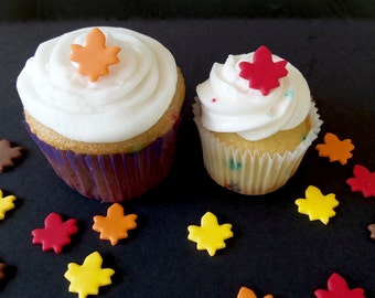 Tiny Fall Leaf Fondant Decorations for Thanksgiving, Fall or Halloween Cake Pops, Mini Cakes, Cookies, Cupcakes, Cakes or Brownies