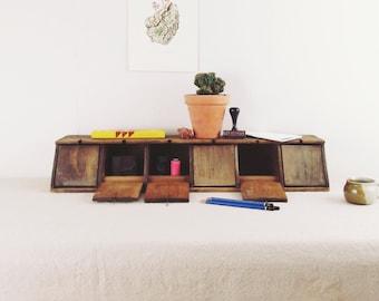 vintage desk organizer,storage cabinet,desk caddy,wood cubbies,workbench organizer,kitchen storage, vintage wood crate, folk made circa 1940