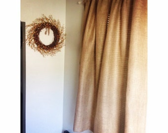 """2 Burlap Curtain Panels No Odor 50"""" Wide Rustic Chic Curtains Burlap Window Treatment Seaside Style Home Decor Custom Sizes Available"""