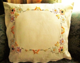 Hand Embroidered Pillow, Flowers, Vintage