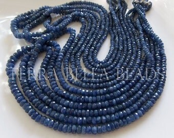 "8"" half strand blue genuine BURMESE SAPPHIRE faceted rondelle beads 2.5mm - 4mm"