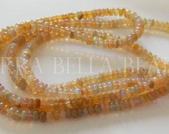"7"" half strand deep gold Ethiopian WELO OPAL smooth gem stone rondelle beads 4mm - 5mm"