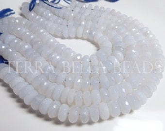 "4.5"" strand natural blue CHALCEDONY faceted LARGE gem stone rondelle beads 9mm"