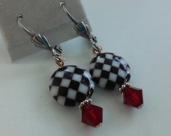 Black and White Check Earrings with Red Swarovski Crystal