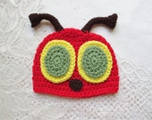 Crochet Bug Hat with Dark Brown Antenna - Photo Prop - Available in Any Size or Color Combination