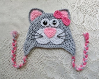 READY TO SHIP - 6 to 12 Month Size - Light Grey and Baby Pink Kitty Cat Crochet Winter Hat or Photo Prop