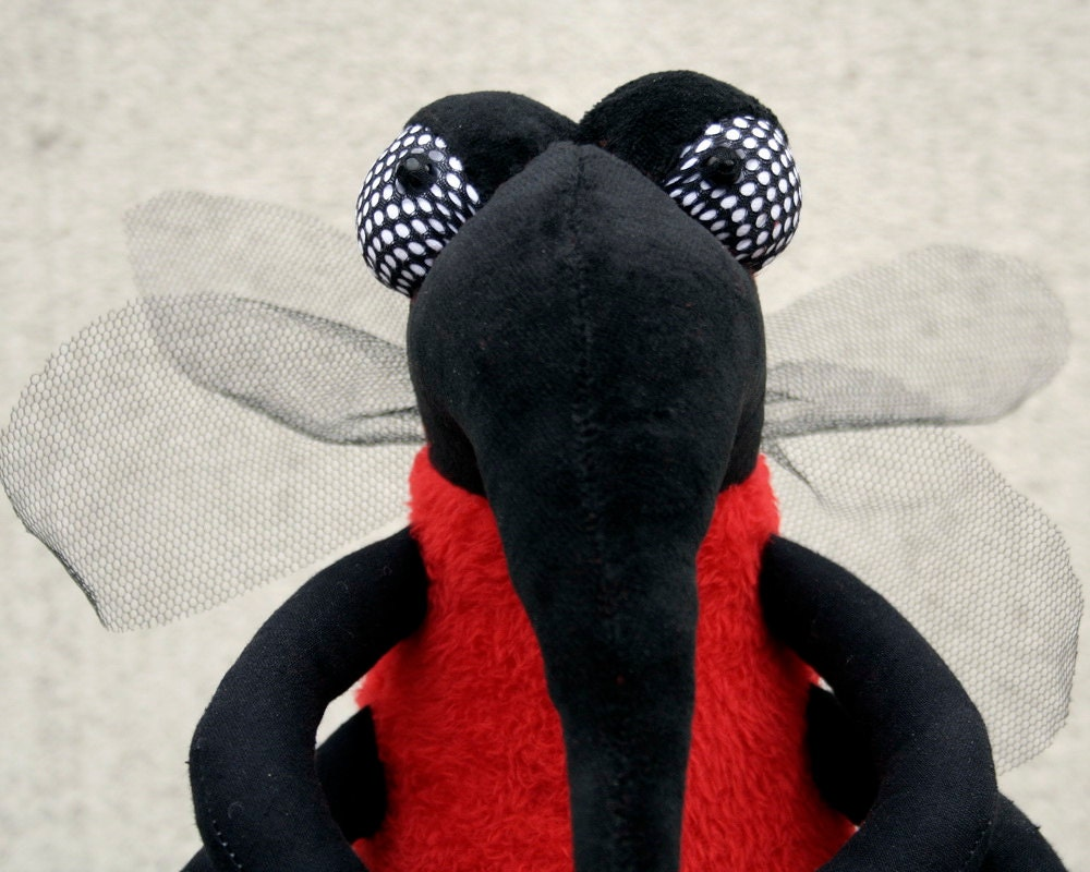 Evil Mosquito, Red Bloodsucker Insect, plushie Insect, stuffed animal, funny soft toy