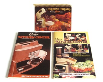 Oster Kitchen Center Instructions Owners Manual Cookbook Recipe Book 1986 & Creative Breads the Easy Oster Way