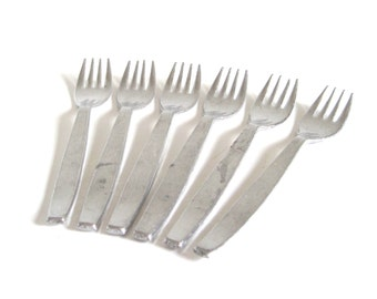 Small Dessert Forks Aluminum Forks Swiss Made Metal Children's Play Flatware Silverware Set of 6