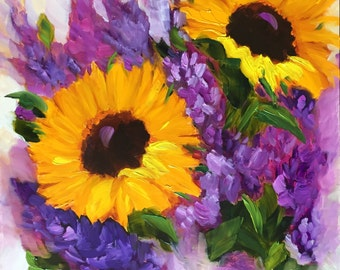 Original oil painting: Sunflowers and purple lilacs still life floral colorful art