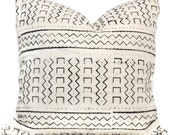 Decorative Pillow Cover White and Black Geometric African Mud Cloth, Hand made fabric from Mali 20x20 or lumbar pillow