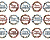 """1"""" Camo Birthday Pink and Blue Mossy Oak Bottle Cap Image Sheets Party Favors Cupcake Topper Magnet Stickers Printables Instant Download."""
