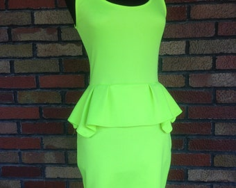 Vintage neon yellow green 80s 90s club kid Halloween costume dress
