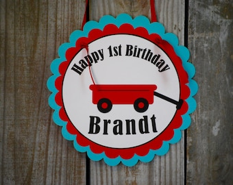 Red Wagon Birthday Party Door Sign/ Wagon Birthday Party/ Wagon Baby Shower