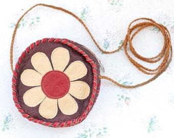 Daisy Small Leather Satchel - Round Cross Body Handbag - Vintage Bag