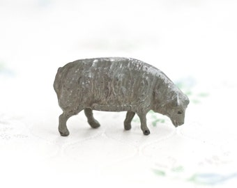 Lead Grazing Sheep - Antique Iron Cast Farm Toy in Grey - Made in England