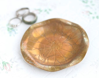 Art Nouveau Ring holder - Brass Small Trinket Dish - Copper Toned - Bronze Ring Dish