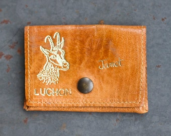 Janet Leather Purse - Little Boho Coin Wallet - Souvenir from Luchon