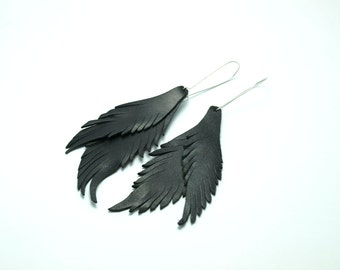 Handmade earrings from genuine leather Feather leather genuine leather handmade ,gift idea, boho style for unique and original people