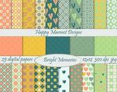 Patterned Paper Digital Backgrounds Printable Photo Resources - 25 designs - 300 dpi - jpg - BRIGHT MEMORIES