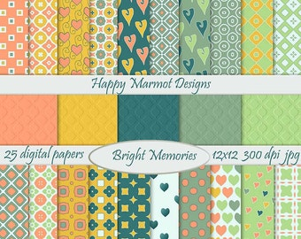 Patterned Paper Digital Backgrounds Printable Photo Resources - 25 designs - 300 dpi - jpg - BRIGHT MEMORIES