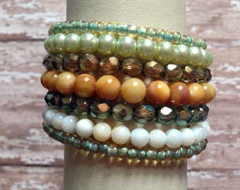 Memory Wire Bracelet in Sage, Ivory, and Light Mustard Beads- Ethereal Woodland